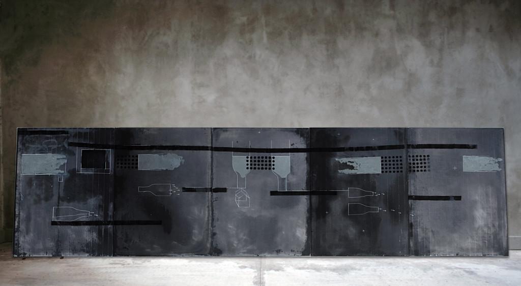 20_ Alma negra, olio e pastelli su lavagna, 450 x 120 cm, 2011