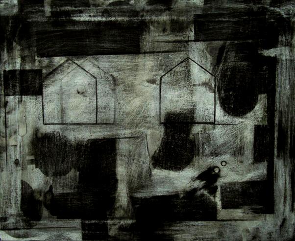 34 Tra due case, olio e carboncino su tela, 55x45 cm, 2010a