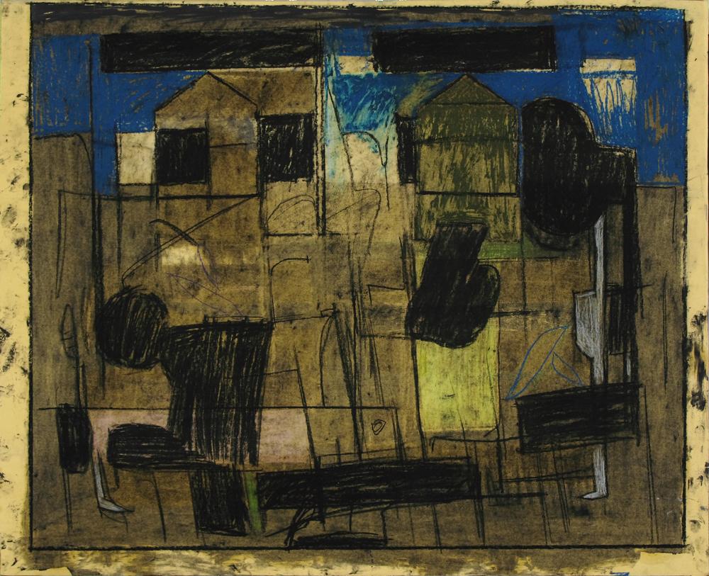 24_ Spazio tra due case, olio, aniline e pastelli su carta intelata,69,5x57,3 cm, 2010.